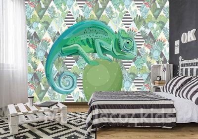 Tiener Kamer Behang.Kameleon Op Cactus Fotobehang