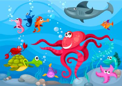 Behang Kinderkamer Vissen : Kleurrijk onderwater behang kinderkamer