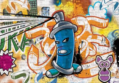 Graffiti fotobehang Blauw