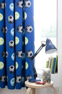 Voetbal kant-en-klaar gordijnen, blauw