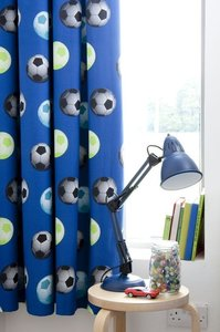 voetbal gordijnen blauw