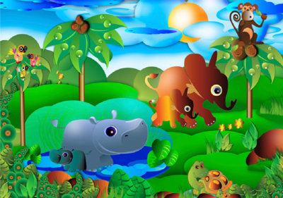 Behang Kinderkamer Jungle.Dierenfamilie Jungle Behang