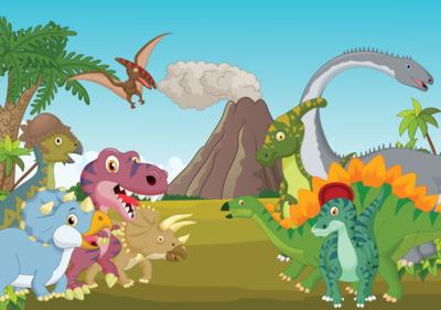Behang Kinderkamer Ruimtevaart : Dinosaurus behang kinderkamer muurdeco4kids