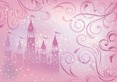 Prinsessen Kasteel behang - Roze