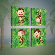 Jungle canvasdoek 4-delige set Aapjes