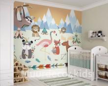 Kinderkamer Jungle Behang : Dierenfamilie jungle behang voor de kinderkamer
