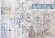 Patches bloemen fotobehang
