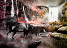 Fotobehang Paard bij de waterval - Roze