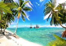 strand fotobehang lost ships